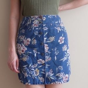 Vintage floral denim skirt